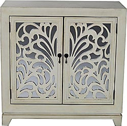 Heather Ann Creations 2 Door Accent Cabinet/Console with Mirror Backed Carved Grille and Center Shelf, 32 x 32, Ivory