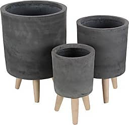 Deco 79 46476 Round Fiber Clay and Wood Planters (Set of 3), 12 x 15 x 17, Black/Brown