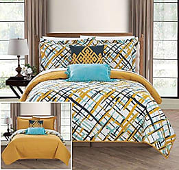 Chic Home Gingham 5 Piece Reversible Quilt Set Abstract Print Design Coverlet Bedding - Decorative Pillows Shams Included Size, Full, Gold