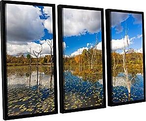 ArtWall 3-Piece Cody Yorks Beaver Marsh Floater Framed Canvas Set, 36 by 54-Inch