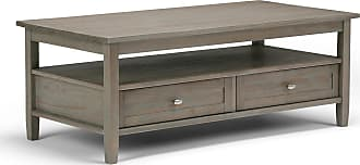 Simpli Home Warm Shaker Solid Wood Coffee Table in Distressed Grey