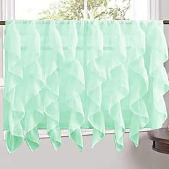 Sweet Home Collection Veritcal Kitchen Curtain Sheer Cascading Ruffle Waterfall Window Treatment - Choice of Valance, 24 or 36 Teir, and Kit, Tier Pair Only, Mint