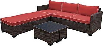 Jeco W00503-FS018 5 Piece Saint Helena Conversation Set with with Red Cushions, Espresso