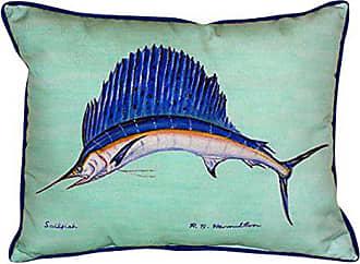 Betsy Drake Sailfish Indoor/Outdoor Pillow, 20 x 24, Teal