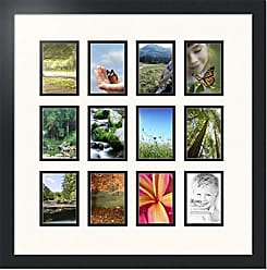 Art to Frames Art to Frames Double-Multimat-1156-824/89-FRBW26079 Collage Photo Frame Double Mat with 12 - 3.25x4.75 Openings and Satin Black Frame