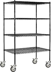 Salsbury Industries Mobile Wire Shelving Unit, 48-Inch Wide by 80-Inch High by 24-Inch Deep, Black