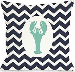 One Bella Casa Chevron Lobster Throw Pillow Cover by OBC, 16x 16, Navy/White/Aqua