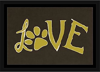 EAZL Love Hand Drawn Paw Print Pet Typography Brown & Green, Framed Canvas Art by Pied Piper Creative