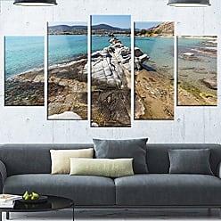 DESIGN ART Designart Clean Waters and Rock Formations - Landscape Canvas Metal Wall Art, 32 H x 60 W x 1 D 5PD, Blue