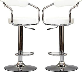 ModWay Modway Diner Retro Faux Leather Adjustable Bar Stools in White - Set of 2