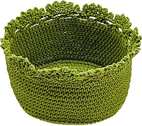 Heritage Lace Mode Crochet Round Basket with Crochet Edge, 6 by 4-Inch, Citron Green, Set of 2