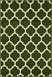Unique Loom Trellis Collection Moroccan Lattice Dark Green Area Rug (2 x 3)