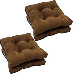Blazing Needles Solid Microsuede Square Tufted Chair Cushions (Set of 4), 16, Chocolate