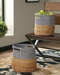 Ashley Furniture Parrish Parrish Natural/Blue Basket (Set of 2), Natural/Blue
