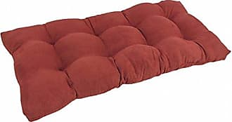 """Blazing Needles Twill Square Tufted Loveseat Cushion 42/"""" X 19/"""" Ruby Red"""