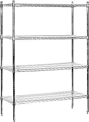 Salsbury Industries Stationary Wire Shelving Unit, 48-Inch Wide by 74-Inch High by 18-Inch Deep, Chrome
