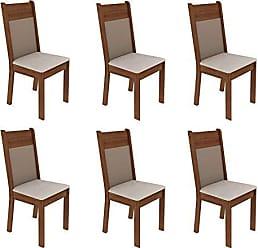 Madesa Conjunto com 6 Cadeiras de Jantar Denver Suede Rústico e Pérola