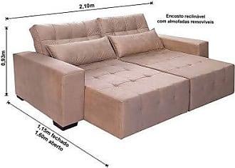 Cama inBox Sofá Retrátil, Reclinável e Cama com Molas New Confort 2,10 Tecido Suede Marrom Castor - Moveis Marfim