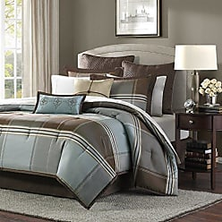 Madison Park Lincoln Square Cal King Size Bed Comforter Set Bed in A Bag - Brown, Teal, Plaid - 8 Pieces Bedding Sets - Jacquard Faux Silk Bedroom Comforters