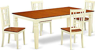 East West Furniture LGNI5-BMK-W 5Piece Dinette Set with One Logan Table & Four Kitchen Chairs in Buttermilk & Cherry Finish