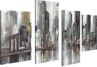 Art Maison Canada Cityscape City Heart Giclee Gallery Wrapped Canvas Wall Art |Modern Décor for Home and Office | Ready to Hang |Set of 4(12x24INCHx2pcs+12x18INCHx2pcs)