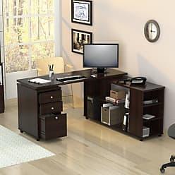 Inval America L-Shaped Computer Work Station - Espresso / Wengue - ET-3215