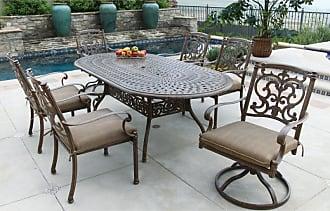 DARLEE Outdoor Darlee Santa Barbara 7 Piece Aluminum Oval Patio Dining Set - 201010-7PC-60L-AB