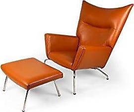 Kardiel Caramel-Aniline Hans J Wegner Style Wing Chair & Ottoman, Leather