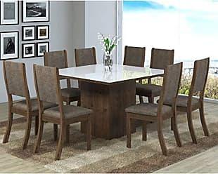 Viero Conjunto Sala de Jantar Mesa 8 Cadeiras Isabela Viero Grigio/Canela/Vidro Branco