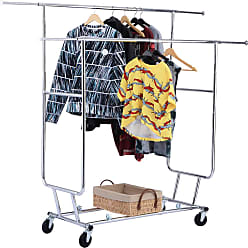 Costway Double Commercial Collapsible Clothing Rolling Garment Rack