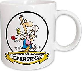 3D Rose 3dRose Funny Worlds Greatest Clean Freak Men Cartoon Ceramic Mug, 15-Ounce