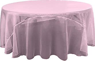 LA Linen Sheer Mirror Organza Round Tablecloth 132-Inch, Lilac, 132
