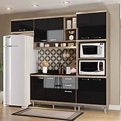 Multimóveis Cozinha Completa com Balcão com Tampo 5 Peças 9 Portas Sicília Multimóveis Argila/Preto