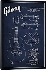 iCanvas Gibson Stringed Navy Blue Patent Blueprint Canvas Print, 26 x 18