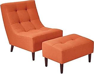 Office Star Upholstered Hudson Chair and Ottoman Set with Espresso Finish Legs, Tangerine
