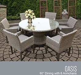 TK Classics Oasis 60 Inch Outdoor Patio Dining Table with 6 Chairs w/ Arms (Grey)