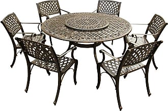 Oakland Living Outdoor Oakland Living Modern Mesh Lattice Aluminum 7 Piece Patio Dining Set with Ornate Mesh Lazy Susan - 2555-1016(6)-BZ