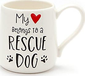 Enesco 6001228 Our Our Name Is MudRescue Dog Engraved Stoneware Mug, 16 oz, White