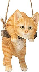 Design Toscano Orange Tabby Kitty on a Perch Hanging Cat Sculpture, 8 Inches, Full Color