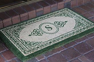 First Impression Green Filigree Monogrammed Outdoor Door Mat - A1HOME200060-A