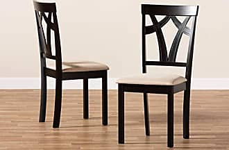 Baxton Studio Set of 2 149-8961-AMZ Dining Chairs, One Size, Sand/Espresso Brown
