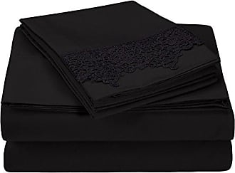 Superior 100% Brushed Microfiber Wrinkle Resistant Twin XL Sheet Set, 3-Piece, Black