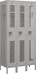 Salsbury Industries Assembled 1-Tier Vented Metal Locker with Three Wide Storage Units, 6-Feet High by 18-Inch Deep, Gray