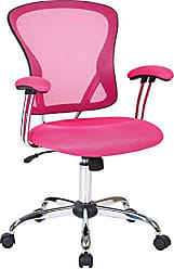 Office Star AVE SIX Juliana Mesh Back and Padded Mesh Seat Adjustable Task Chair with Padded Arms and Chrome Accents, Pink