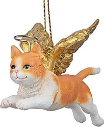 Design Toscano Christmas Tree Ornaments - Honor The Feline Orange Tabby Holiday Angel Cat Ornaments