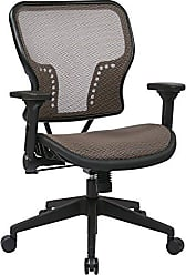 Office Star SPACE Seating AirGrid Seat and Back, 2-to-1 Synchro Tilt Control, 4-Way Adjustable Padded Flip Arms, and Nylon Base Managers Chair, Latte