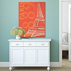 Portfolio Canvas Decor Portfolio Canvas Decor Portfolio Décor Canvas Print Wall Art-Paris 1889 in Tangerine by IHD Studio Stretched and Wrapped, Ready to Hang-22x28, 22x28