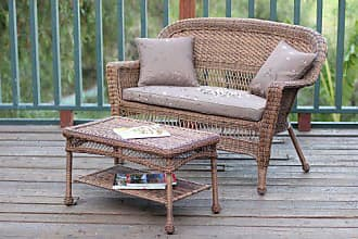 Jeco W00205-LCS007 Wicker Patio Love Seat and Coffee Table Set with Brown Cushion, Honey
