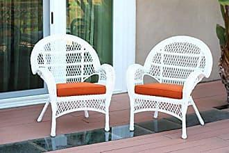 Jeco W00209-C_2-FS016-CS Wicker Chair with Orange Cushion, Set of 2, White/W00209