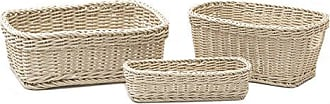 Seville Classics Nesting Wicker Weave Storage Basket Set 3-Piece, Ivory
